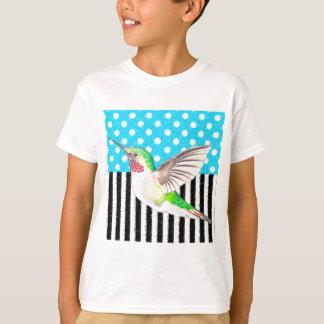 Camiseta Azul artística do colibri