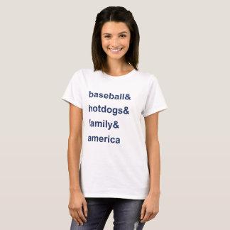 Camiseta Azul de América da família de cachorros quentes do