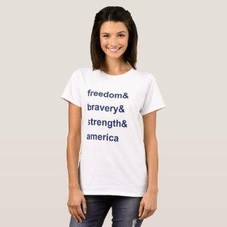 Camiseta Azul de América da força da bravura da liberdade