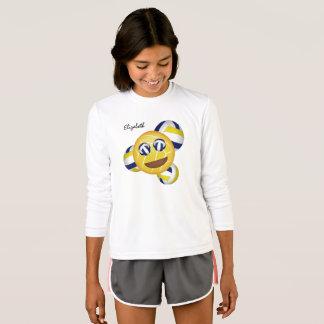 Camiseta azul do amarelo do emoji do voleibol das meninas