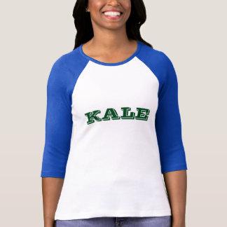Camiseta azul do Raglan da letra verde da