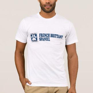 Camiseta Azul do Spaniel de Brittany do francês