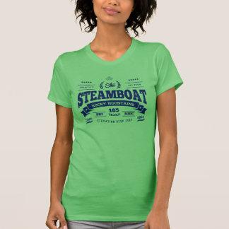 Camiseta Azul do vintage do barco a vapor