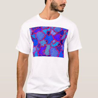 Camiseta Azul e cor-de-rosa abstratos