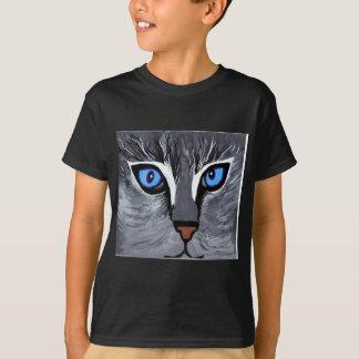 Camiseta azul lindo dos olhos de gato