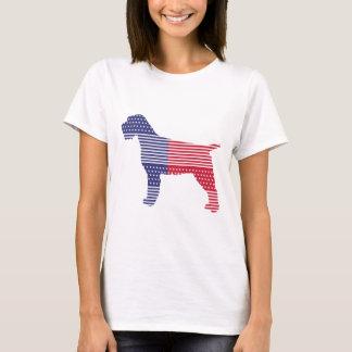 Camiseta Azul vermelho do cão patriótico apontar Griffon