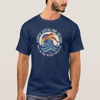 Camiseta azulejo dos peixes de vôo da ilha de Catalina do