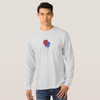 Camiseta Balão T por muito tempo Sleeved do crânio dos