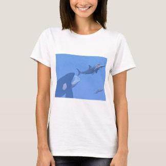 Camiseta Baleias e megalodon subaquáticos - 3D rendem