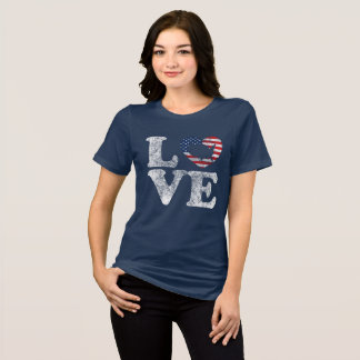 Camiseta Bandeira afligida EUA e mapa dos E.U. do AMOR no