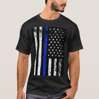 Camiseta Bandeira americana afligida do estilo da polícia