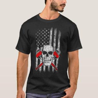 Camiseta Bandeira americana com crânio e chaves do