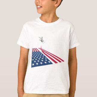 Camiseta Bandeira americana com descolagem do avião de