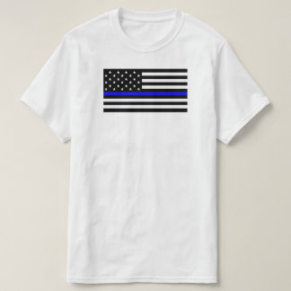 Camiseta Bandeira americana com polícia fina do apoio de