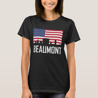 Camiseta Bandeira americana da skyline de Beaumont Texas