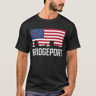 Camiseta Bandeira americana da skyline de Bridgeport