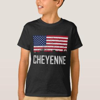 Camiseta Bandeira americana da skyline de Cheyenne Wyoming