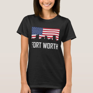 Camiseta Bandeira americana da skyline de Fort Worth Texas