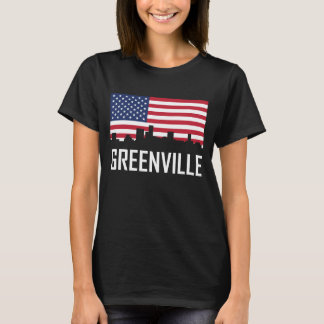 Camiseta Bandeira americana da skyline de Greenville South