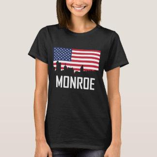 Camiseta Bandeira americana da skyline de Monroe Louisiana