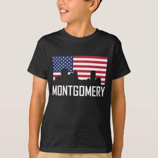 Camiseta Bandeira americana da skyline de Montgomery