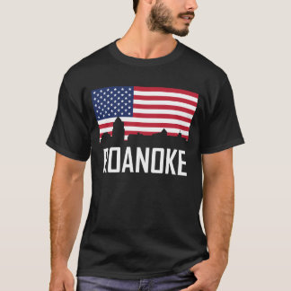 Camiseta Bandeira americana da skyline de Roanoke Virgínia