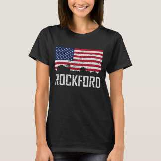 Camiseta Bandeira americana da skyline de Rockford Illinois