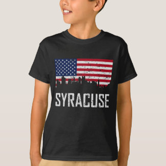 Camiseta Bandeira americana da skyline de Siracusa New York