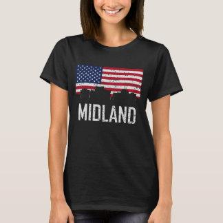 Camiseta Bandeira americana da skyline de Texas do Midland