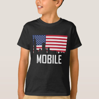 Camiseta Bandeira americana da skyline móvel de Alabama