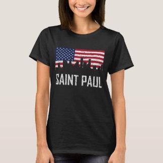 Camiseta Bandeira americana Distres da skyline de Saint