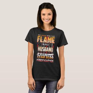 Camiseta Bandeira americana do sapador-bombeiro do marido