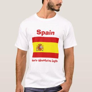 Camiseta Bandeira da espanha + Mapa + T-shirt do texto