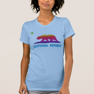 Camiseta Bandeira da república de Califórnia do arco-íris