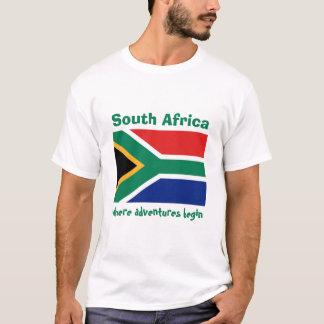 Camiseta Bandeira de África do Sul + Mapa + T-shirt do