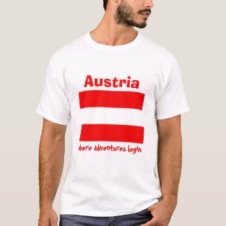 Camiseta Bandeira de Áustria + Mapa + T-shirt do texto