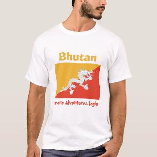 Camiseta Bandeira de Bhutan + Mapa + T-shirt do texto