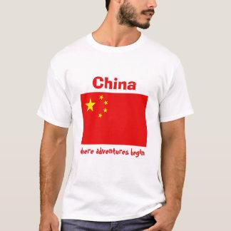 Camiseta Bandeira de China + Mapa + T-shirt do texto