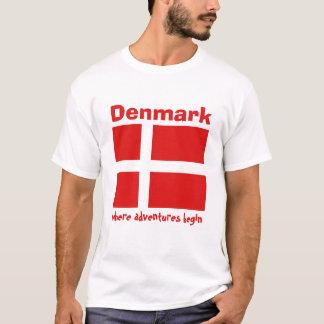Camiseta Bandeira de Dinamarca + Mapa + T-shirt do texto