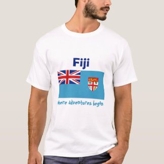 Camiseta Bandeira de Fiji + Mapa + T-shirt do texto
