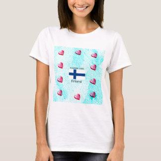 Camiseta Bandeira de Finlandia e design finlandês da língua