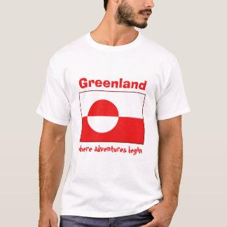 Camiseta Bandeira de Greenland + Mapa + T-shirt do texto