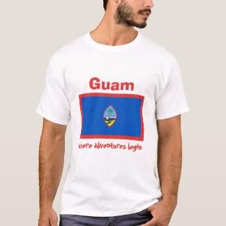 Camiseta Bandeira de Guam + Mapa + T-shirt do texto