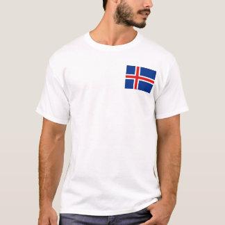Camiseta Bandeira de Islândia e t-shirt do mapa