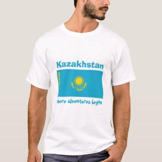 Camiseta Bandeira de Kazakhstan + Mapa + T-shirt do texto