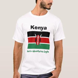 Camiseta Bandeira de Kenya + Mapa + T-shirt do texto