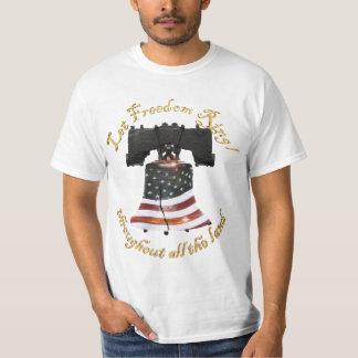 Camiseta Bandeira de Liberty Bell w/American - deixe o anel