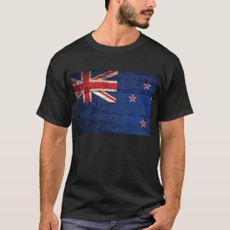 Camiseta Bandeira de madeira velha de Nova Zelândia;