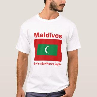 Camiseta Bandeira de Maldives + Mapa + T-shirt do texto