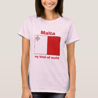 Camiseta Bandeira de Malta + Mapa + T-shirt do texto